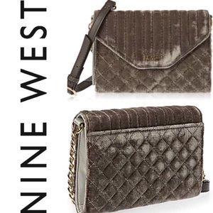 🆕 Velvet Foldover Crossbody Wallet Grey Nine West
